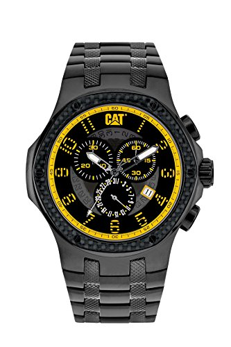 Navigo CAT Carbon-Orologio da uomo al quarzo con Display analogico e braccialetto in acciaio INOX, colore: argento, A5,163.16,117