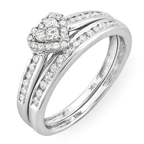 0.55 Carat (ctw) 10k White Gold Round & Princess Diamond Ladies Heart Shaped Bridal Ring Engagement Matching Band Set