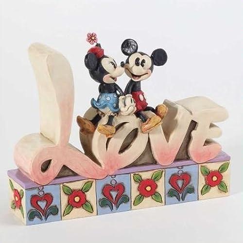 디즈니 tradition 에너지 스코  Enesco Jim Shore 짐・ 쇼아  미키와 미니 목각조 피규어 Love Inspirational Word Plaque 4-3/4-Inch [병행수입]