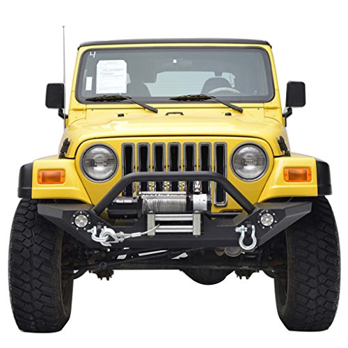 E-Autogrilles YJ TJ Jeep Wrangler Front Bumper with LED Lights and Rear Bumper Combo