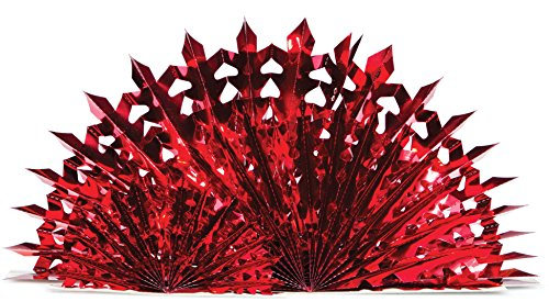 Creative Converting Centerpiece, Triple Foil Fan, Red