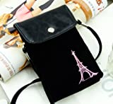 Big Mango Multipurpose Famous France Eiffel Tower Design Two separated Pouches Cell Phone Soft Fuzz and PU Leather Bag Crossbody Purse for Apple Iphone 4 4s Iphone 5 5s 5c Samsung Galaxy S4 S3 Galaxy Note 2 HTC Money Key Cards with Shoulder Strap & Magnetic Snap Buttom Closure ( Black ) by Leather Factory Outlet