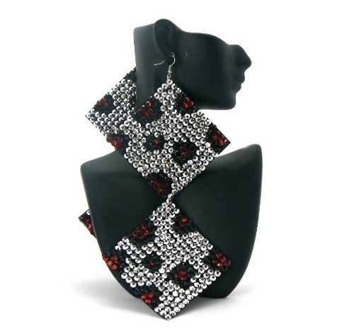 Silver with Red Two-Tone Square Poparazzi Iced Out Light Weight Basketball Wives Earrings Lady Gaga Paparazzi