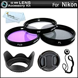52MM Professional Lens Accessory Kit for NIKON Df DSLR (D5100 D5200 D5300 D3100, D40 D60 D80 D3200) - Includes Filter Kit (UV, Polarizing, Fluorescent) + Pouch + Lens Hood + Snap-On Lens Cap + Cap Keeper + More. Fits (18-55mm, 55-200mm, 50mm) Nikon Lenses
