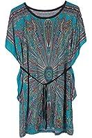 Demarkt Elegant Femme Courte Robe Evidement Robe d'ete/en Soie de Glace avec Dessin Fleur de Soleil/ Ceinture Vert- Vert