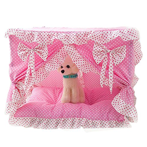 qianle-lace-princess-dog-house-soft-cute-foldable-washable-pet-house-puppy-bed-nest-pinks