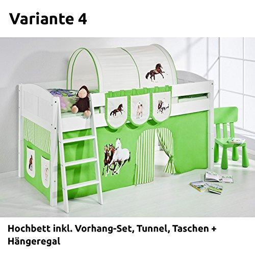 Hochbett Spielbett IDA Pferde Grün Beige, mit Vorhang, weiß, Variante 4 günstig