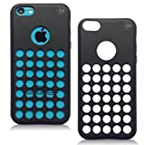 iPhone 5C Cases – iPhone 5C Soft Skin Case For The New iPhone 5C – Circle Colors – Dots Holes – Shell – Skin Cover By Cable and Case – Black
