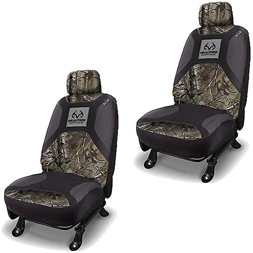 Realtree Outfitters Brand Camo Logo Infinity Camouflage Version 2.0 Auto Car Truck SUV Vehicle Universal-Fit Safe Seam Seat Airbag Compatible Low Back Bucket Seat Cover with Head Rest Cover - PAIR (Camouflage Truck Seat Covers compare prices)