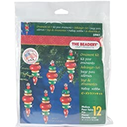 Beadery Holiday Beaded Ornament Kit, 2.25-Inch by 0.75-Inch, Victorian Baubles, Makes 12 Ornaments by Beadery