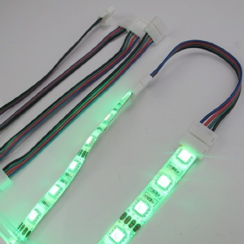 Hkbayi 10 Pcs / 10 X 10Mm 4Pin Led Strip Board Connector Cable For Smd 5050 Rgb Strip