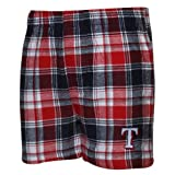 MLB Texas Rangers Legend Flannel Men's Boxers, Navy/Red, Medium