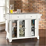 Crosley Furniture Newport Stainless Steel Top Kitchen Island in White Finis ....