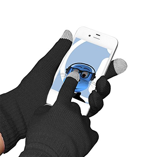 Nero unisex completa Finger Gloves Unica TouchTip TouchScreen invernali per Samsung I110 Illusion