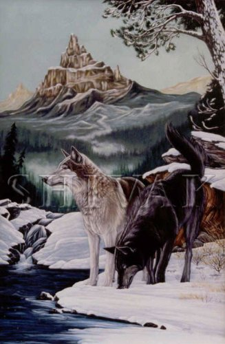 Original Wolves Painting by Shivak