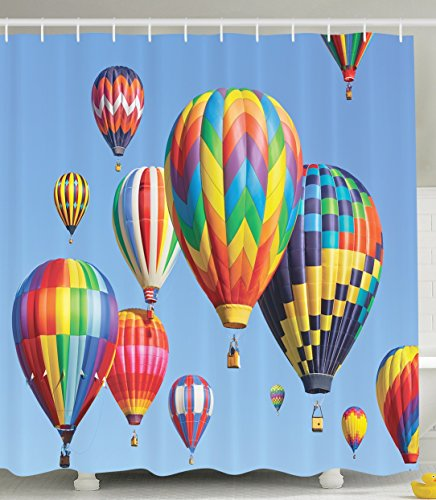 Hot Air Balloons Colorful Fabric Shower Curtain Multicolored Dream Pictures Flying in the Sky Waterproof Polyester Bathroom Decorations Home Bath Accessories Blue Red Green Yellow (Balloon Shower Curtain compare prices)