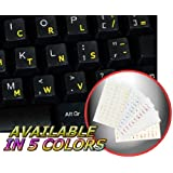 DVORAK SIMPLIFIED KEYBOARD STICKERS WITH YELLOW LETTERING ON TRANSPARENT BACKGROUND