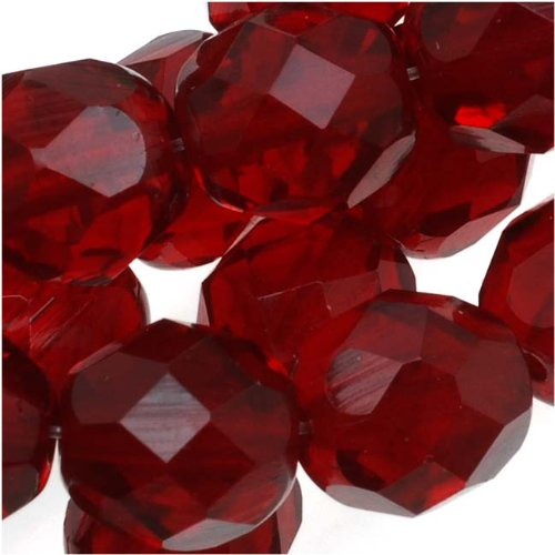 Czech Fire Polished Glass Beads 8mm Round Dark Ruby Red (25) (Fire Polished Beads compare prices)
