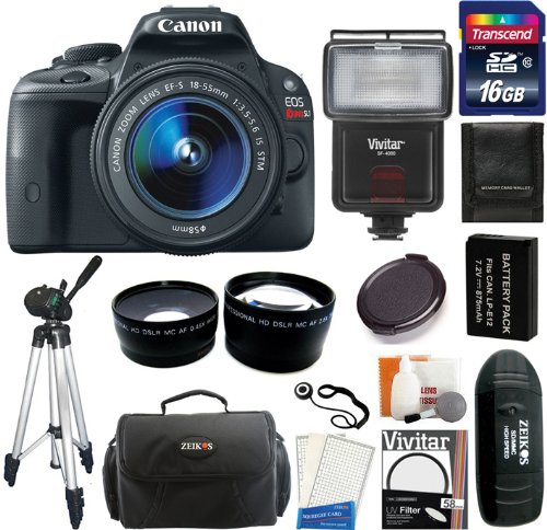 Canon Eos Rebel Sl1 Digital Slr Camera With Ef-S 18-55Mm F/3.5-5.6 Is Stm Lens + 16Gb Card And Reader + Flash + Extra Battery + Case + Filter + Wide-Angle + Telephoto Lens + Tripod + Accessory Kit