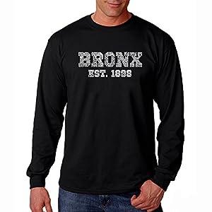 Men's Long Sleeve T-shirt - Popular Neighborhoods in The Bronx New York - Word Art - Black - Medium