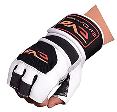 EVO Fitness Pure Leather Weightlifting Gym Gloves Neoprene Wrist Support wraps straps Bodybuilding Wheelchair cycling glove from EVO Fitness