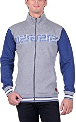 UCC Men's Fleece Regular Fit Sweatshirts (UCC7023GREYBLUE-XXL)
