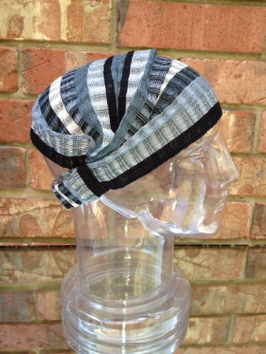 Inspirit Arts Medium Black White Gray Headband Expandable Handwoven Open Net Weave Lightweight Bandana Headwrap Elastic 100% Cotton Hair Scarf front-491885