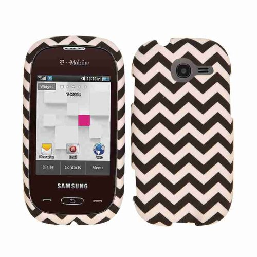 Cell Armor Snap-On Cover for Samsung Gravity Q T289 - Retail Packaging - Black/White Waves