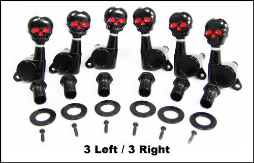 Black Skull Electric Guitar Tuners/Machine Heads - 6pc. 3 Left/3 Right