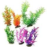 uxcell® 6 Pcs Assorted Color Aquarium Plastic Plant Decoration Ceramic Base