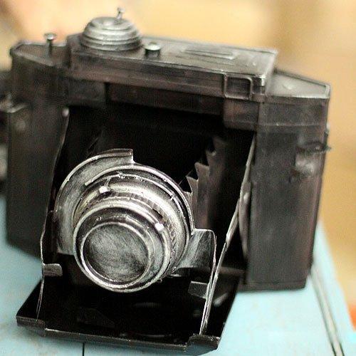 WWJ/ Vintage Tin piggy imitate the camera Olympus wrought iron decorative window decoration 1