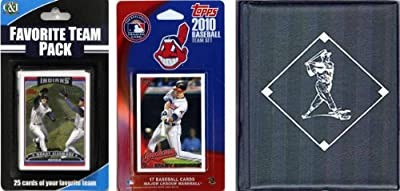 MLB Cleveland Indians Licensed 2010 Topps Team Set and Favorite Player Trading Cards Plus Storage Album