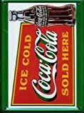 COCA COLA SOLD HERE Small Vintage Tin Metal Pub Sign