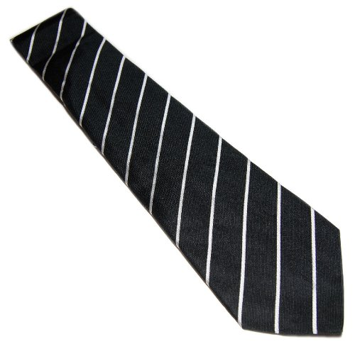 Polo Ralph Lauren Purple Label Mens Dress Tie Black White Stripe Silk Italy