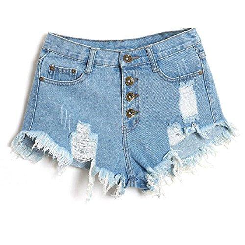 Minetom Donne Jeans Vita Bassa Estate Buco Hot Pants Pantaloncini Denim ( Blu chiaro EU M )