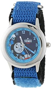 Thomas and Friends Kids' W000732 Kid's Stainless Steel Time Teacher Blue Velcro Strap Watch