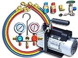 マニホールドゲージ R134a R12 R22 R502 & 真空ポンプ 30L 逆流防止機能付き 2点セット