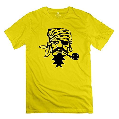 Yellow Pirate Smoking Pipe Short-Sleeve Shirts For Guys