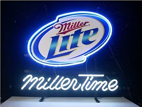 "New Miller Time Miller Lite Neon Light Sign Display Beer Bar Pub Store Club Garrag Dealers Windows Garage Wall Sign 17w""x 14""h"