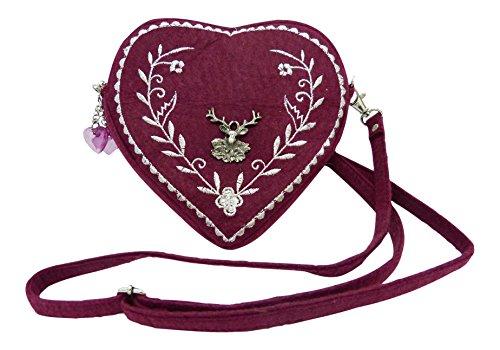 Damen-Dirndl-Handtasche-Herz-Umhngetasche-Herztasche-florales-Design-mit-Hirsch-Bordeaux