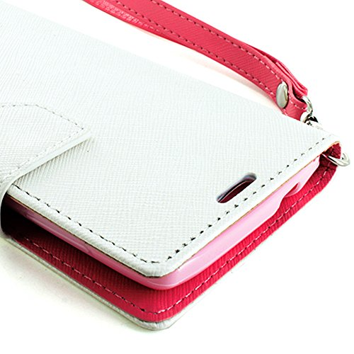 Mylife (Tm) White And Pink {Classic Design} Faux Leather (Card, Cash And Id Holder + Magnetic Closing) Slim Wallet For The All-New Htc One M8 Android Smartphone - Aka, 2Nd Gen Htc One (External Textured Synthetic Leather With Magnetic Clip + Internal Secu