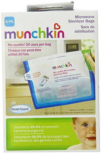 Munchkin Steam Guard Microwave Sterilizer Bags, White - 12-Pack