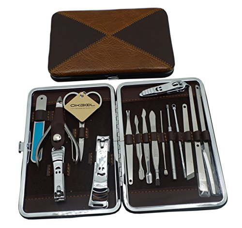 okbool 16pcs double color stainless steel manicure pedicure set travel grooming set personal. Black Bedroom Furniture Sets. Home Design Ideas
