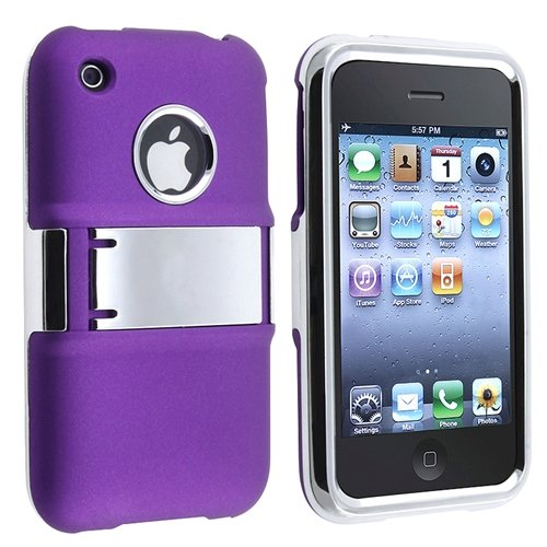 Snap-on Rubber Coated Case with Stand compatible with Apple iPhone 3G / 3GS , Purple with Chrome Stand