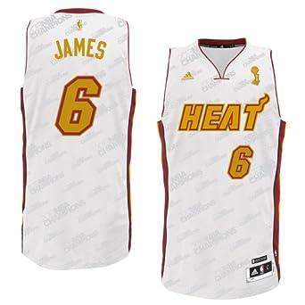 Adidas LeBron James Miami Heat Trophy Banner Fashion Swingman Jersey by adidas