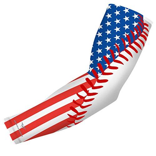USA Flag Baseball Stitch Sports Compression Arm Sleeve - Youth & Adult Sizes - Baseball Football Basketball Golf by Bucwild Sports (1 Sleeve - Youth Medium)