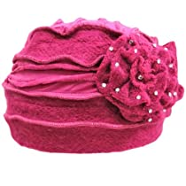 Magenta Lovely Winter Knit Layered Hat With Flower Detail