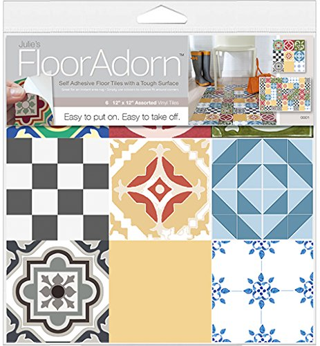 FloorAdorn 6-Count Self-Adhesive Instant Vinyl Floor Decor, Assorted Patterns, 12 X 12-Inch