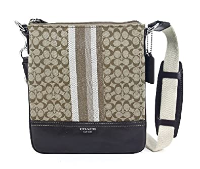COACH Legacy Signature Stripe Swingpack Crossbody Bag 48001- Khaki/Mahogany