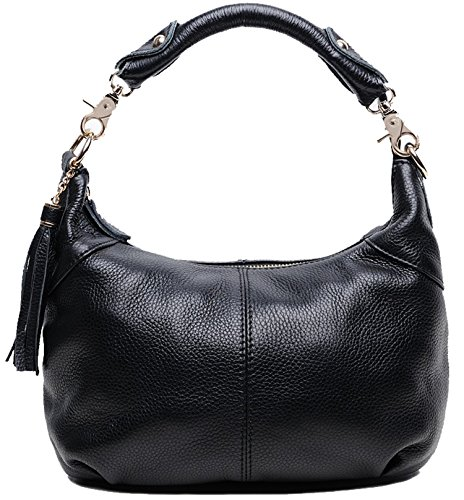 Heshe Fashion Women'S Genuine Leather Collection Cross Body Shoulder Bag Satchel Handbag (Black2)